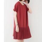 Plain Pleated Hem Short Sleeve Dress 1596