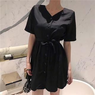 Short-sleeve | V-neck | Black | Dress | Size | One
