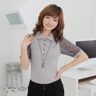 Picture of CLICK Sheer Lace-Sleeve Polo Shirt 1023070779 (CLICK Tees, Womens Tees, South Korea Tees, Polo Shirts)