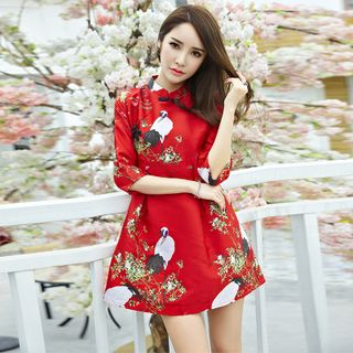 Bird Print Chinese Frog Button A-Line Dress 1049500420