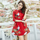 Bird Print Chinese Frog Button A-Line Dress 1596
