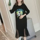 Maternity Mesh Panel Sequined T-Shirt Dress 1596