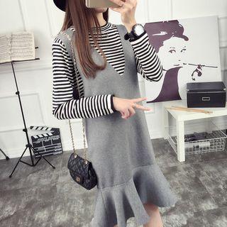 Set: Striped Long-Sleeve Knit Top + Ruffle Hem Pinafore Dress 1057076058