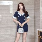 V-neck Short-Sleeve Minidress 1596
