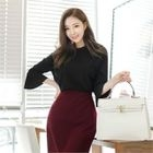 Crew-Neck Bell-Sleeve Ribbed Top 1596