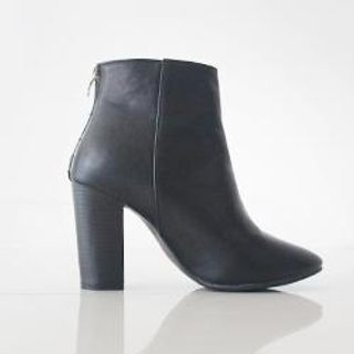 Zip-Detail Chunky-Heel Ankle Boots