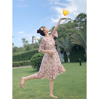 Image of Floral Elbow-Sleeve A-line Chiffon Dress