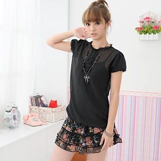 Picture of 59 Seconds Button Front Blouses Black - One size 1022187586 (59 Seconds Apparel, Womens Blouses, Hong Kong Apparel, Hong Kong Blouses)