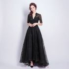 Elbow-Sleeve V-Neck Evening Gown 1596