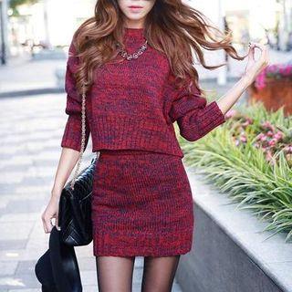 Set: Dolman-Sleeve Knit Sweater + Knit Pencil Skirt