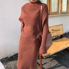 Set: Knit Vest + Long-Sleeve Knit Dress 1596