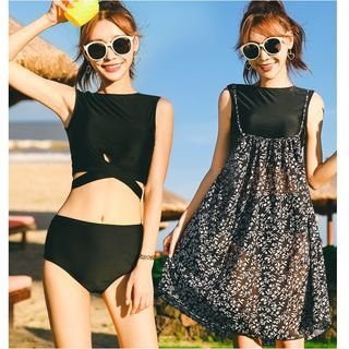 Set: Plain Bikini + Printed Strappy Sundress 1064257276