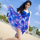 Set: Floral Print Swimdress + Swimshorts 1596
