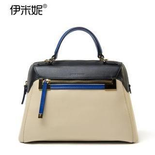 Genuine Leather Color-Block Tote 1037404233