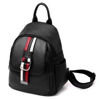 Striped Faux Leather Backpack 1063472250