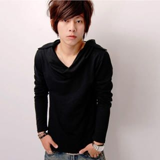 Picture of SLOWTOWN Long-Sleeve Cowl-Neck Hooded Top 1022962989 (SLOWTOWN, Mens Tees, China, Mens Causal Tops)