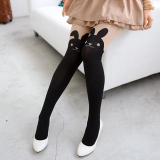 Rabbit Print Two-Tone Tights Black and Nude - One Size 1034066488