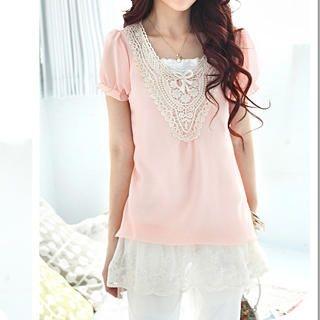 Buy Tokyo Fashion Set: Crochet-Collar Chiffon Top + Camisole 1022532613