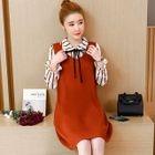 Set: Striped Blouse + V-Neck Pinafore Dress 1596