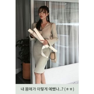Set: V-Neck Ribbed Cardigan + Band-Waist Skirt 1061885615