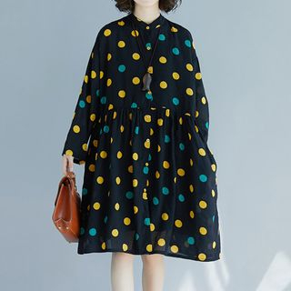 Image of Long-Sleeve Dotted Shirt Dress Light Yellow & Blue Dotted - Dark Blue - One Size