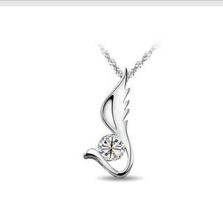 White Gold Plated 925 Sterling Silver Angel Wings Pendant with White Cubic Zircon and Necklace