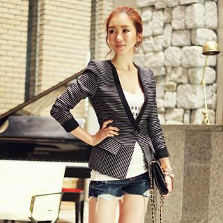 Striped Collarless One-Button Blazer