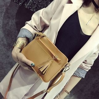 Set: Faux Leather Crossbody Bag + Tasseled