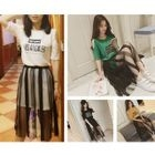 Set: Cutout Shoulder Short-Sleeve T-Shirt Dress + Midi Mesh Skirt 1596