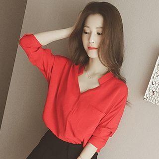 plain-v-neck-blouse