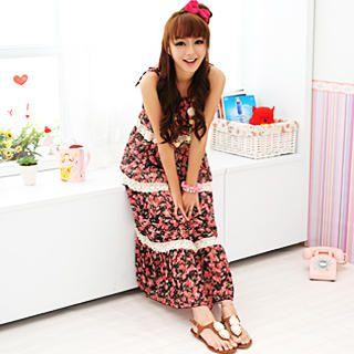 Buy 59 Seconds Crochet-Trim Floral Chiffon Maxi Dress Black – One Size 1022885885