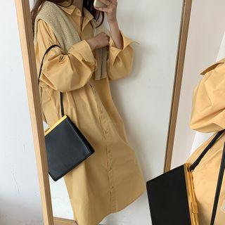 Image of Long-Sleeve Slit-Side Midi Shirtdress