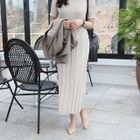 Short-Sleeve Ribbed Maxi Knit Dress 1596