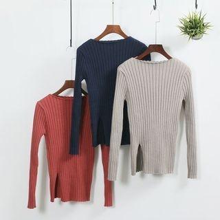 Slit-Hem Ribbed Knit TOp 1056035269