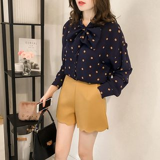 Image of Bow Dotted Printed Chiffon Long Sleeve Blouse