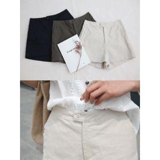 Zip-Front Cotton Shorts 1060419958