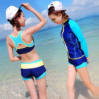 Image of Color Block Tankini / Swim Pants / Rashguard Jacket / Set