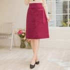 Single-Breasted Plain Midi Skirt 1596