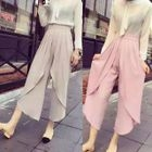 Pleated Front Cropped Wide Leg Pants 1596
