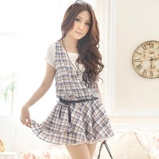 Buy Tokyo Fashion Set: Inset T-Shirt Sleeveless Plaid Mini Dress + Belt 1022972690