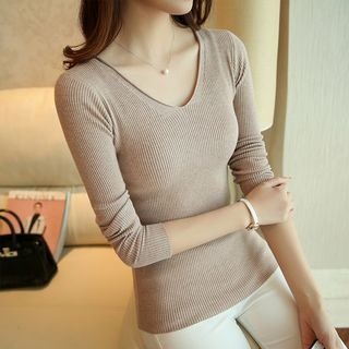 V-Neck Ribbed Knit Top 1053870645