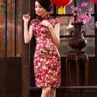 Cap-Sleeve Flower Print Silk Cheongsam 1596