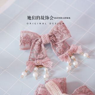 Image of Bow-Accent Beaded Lace Hair Clip