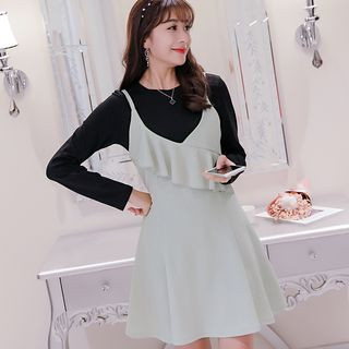 Set: Long-Sleeve T-Shirt + Strappy A-Line Dress 1057127690