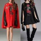Set: Sequined Cape + Sleeveless A-Line Mini Dress 1596