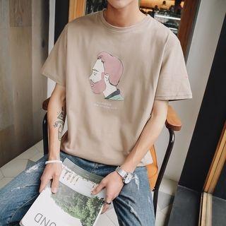 Printed Elbow-Sleeve T-Shirt 1060073923