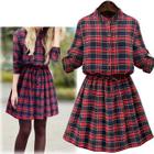 Long-Sleeve Plaid Dress 1596