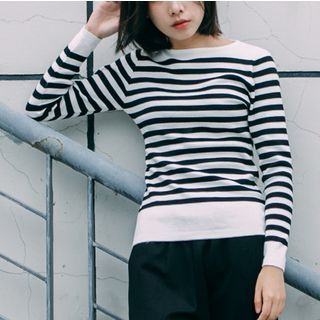 Striped Knit Pullover 1054995422