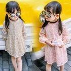 Kids Faux Pearl Lace Long Sleeve Dress 1596