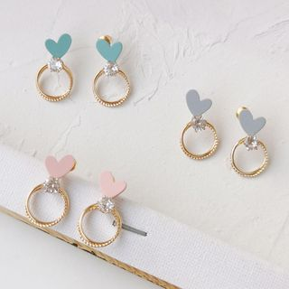 Rhinestone | Earring | Dangle | Heart | Hoop